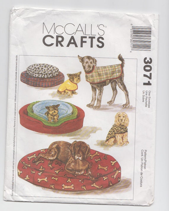 Mccall 39 s crafts 3071 dog bed coat bed cover for all 3 for Studio one bed cover