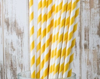 "25 Yellow Extra Long vintage barber stripe drinking straws - with FREE Blank Flag Template - see also ""Personalized"" Flags"