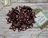 Brown Hair Bow, Brown swiss dot, Brown Bow, Brown Hair Clip, Brown hairbow, Brown boutique hair bow