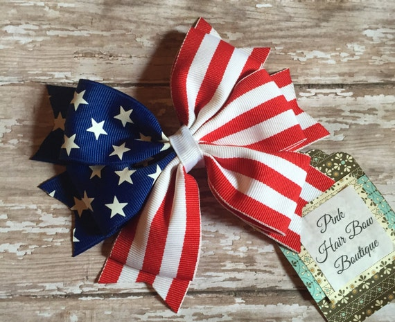 4th of july hair bow patriotic hair bow and stripes