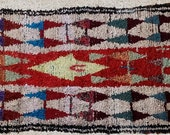 FREE SHIPPING WORLDWIDE L22202 vintage boucherouite rug, moroccan rugs , rag rug, berber tribal art, morocco carpets, wall art