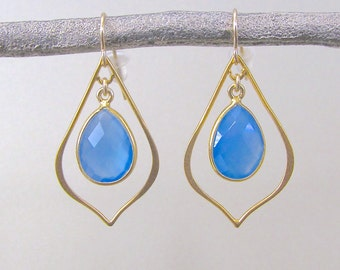 Gold Dangle Earrings with Blue Chalcedony Drops