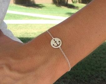 Silver Anchor Charm Bracelet - Charm Bracelet - Nautical Jewelry
