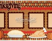 2 Premade Scrapbook Pages 12x12 Layout Paper Piecing Thanksgiving Fall Handmade 12