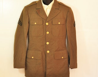 Vintage U.S. Army WWII Uniform Jacket WW2 1940 36 37L Chicago Kahn Bros. Brown with Gold Metal Buttons U.S. Military Coat