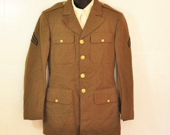 Vintage U.S. Army WWII Uniform Jacket WW2 Military 1940 36 37L Chicago Kahn Bros. Brown with Gold Metal Buttons U.S. Military Coat