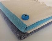 SALE Set of 2 organic Turkish Towel, Peshtemal, bath, Beach, Spa, pool, gift, navy and turquoise