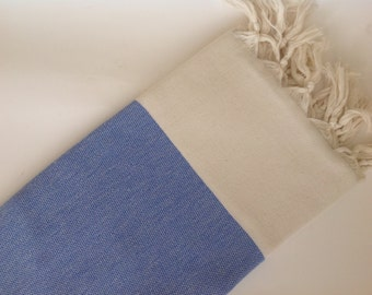 Valentine's day, Elegant Organic Turkish Towel, Peshtemal, bath, spa,  Natural Soft cotton, , Special Production, Handwoven , Blue