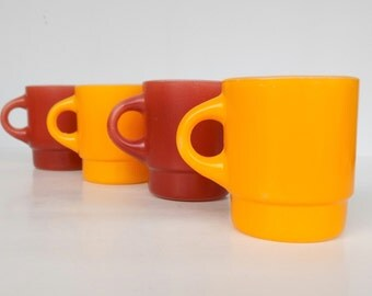 60s FireKing Coffee Stackable Mugs- 60s Goldenrod and Brick Scheme