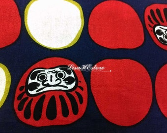 Japanese daruma dolls, on dark blue, 1/2 yard, pure cotton fabric