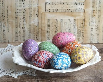 Easter Egg Bowlfillers, Feedsack Fabric, Cottage,  Farmhouse  Decor