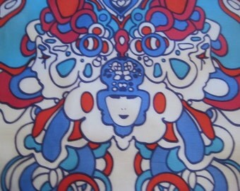Vintage Peter Max Psychedelic Scarf, Pop Art Butterfly, Mod Art, Hippie Era