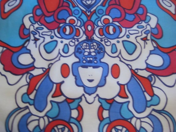 Vintage Peter Max Psychedelic Scarf, Pop Art Butterfly, Mod Art, Hippie Era