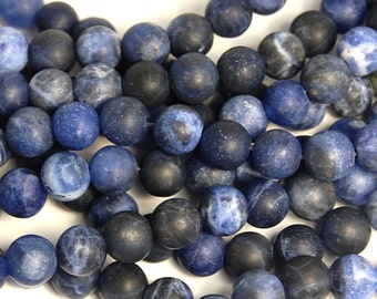 6mm Matte Sodalite Beads in Persian Blue   -15 inch strand
