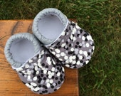 Baby Shoes for Boys - Black and White and Grey Confetti Print - Custom Sizes 0-24 months