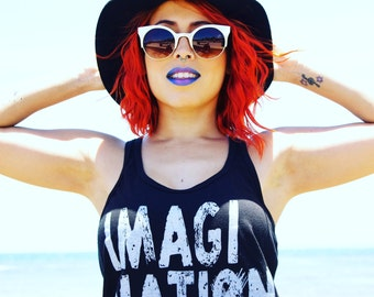 Women's slim fit Tank Top - Imagination Einstein Quote - typographic t-shirt Summer tee