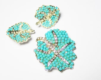 Vintage Turquoise Beaded Brooch and Earring Set, Summer Jewelry with Rhinestones in Silver Tone Setting