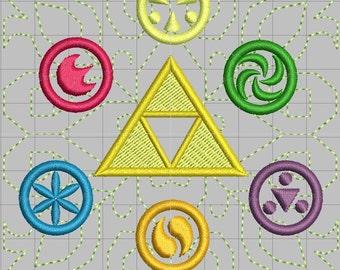 Zelda Embellished Spirit Medallions Machine Embroidery design 4x4