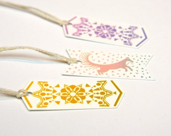 Fox and Flower Motif Gift Tag Flags