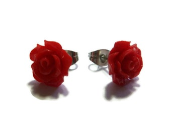 Red Rose Stud Earrings ~ One Pair ~ 10mm - Post Earring ~ Flower Blossom ~ Small Rose ~ Crimson