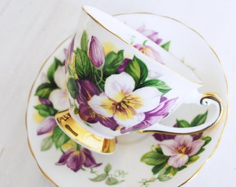 Windsor Teacup and Saucer / Purple Floral Vintage Tea Cup