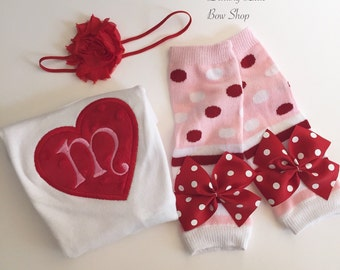 Valentine Outfit - Baby Girl - heart initial long sleeve bodysuit, leg warmers, headband