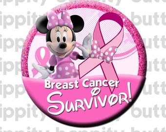 Minnie Mouse Breast Cancer Survior Button