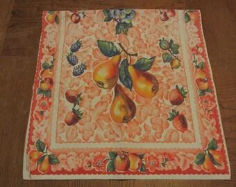 Vintage 40s 50s Dish Towel Retro Fruit Print Pink Floral Background Cotton