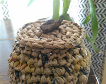 Crocheted Plarn Basket w/Cover Small