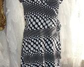 Black and white wrap dress, polka dot
