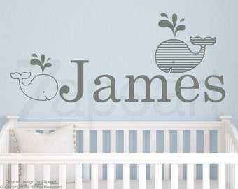 Whales with Personalized Name Wall Decal