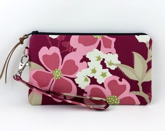Cell Phone Wristlet, Small Clutch Purse, Pink Flower Zipper Pouch, Accessory, Padded, Gift idea