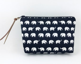Black Elephants Zipper Pouch, Small Cosmetic Bag, Padded, Accessory Pouch, Gift idea, Notions Bag