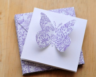 SALE-Purple and White Butterfly Mini Cards // Blank Cards // Enclosure Cards // Baby Gift Card // Gift Cards // Love Note // Advice Cards