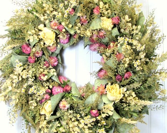 Dried Floral Wreath, Wall Decor, Dried Flowers, Wreaths