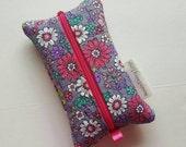 Zippered Tissue Holder, Kleenex, Travel Tissue Holder, Gray Floral, Includes Tissue, Ready to Ship