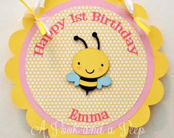 Pink and Yellow Bee Themed Personalized Hanging Door Sign  First 1st Birthday Shower Decoration