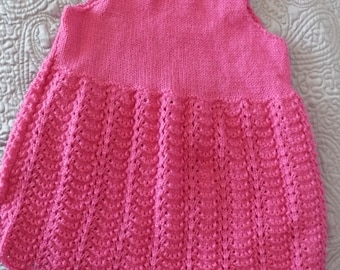 2 - 3 yr old girl lacy knit pink dress heart glass buttons unworn vintage