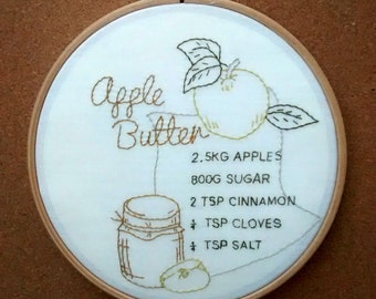 Apple Butter Recipe embroidery hoop. Retro home decor. Unusual gift. 7inch.