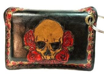 Skull Credit Card Holder - Mini Wallet - Keychain Wallet - Chain Wallet - Skull and Roses - Minimalist Wallet - Skull Wallet - Biker Gift