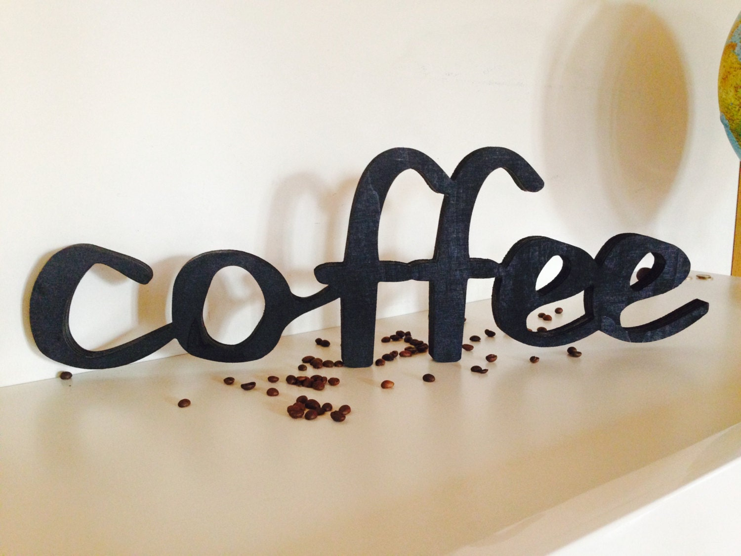 Wood sign home decor wood word coffee wooden sign script for Sign decoration
