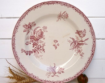 SHABBY CHIC Lovely Dish French Antique With Pink Flowers and Ribbon Shabby Chic - Sarreguemines Digoin - French Transferware