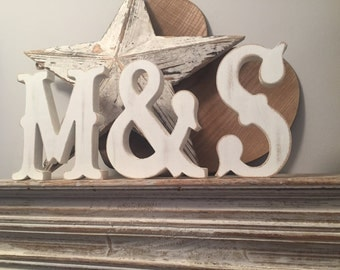 Wooden Wedding Letters, Set of 3 - 20cm - Western Style Font, Carnival, Circus, Standing, various colours and finishes