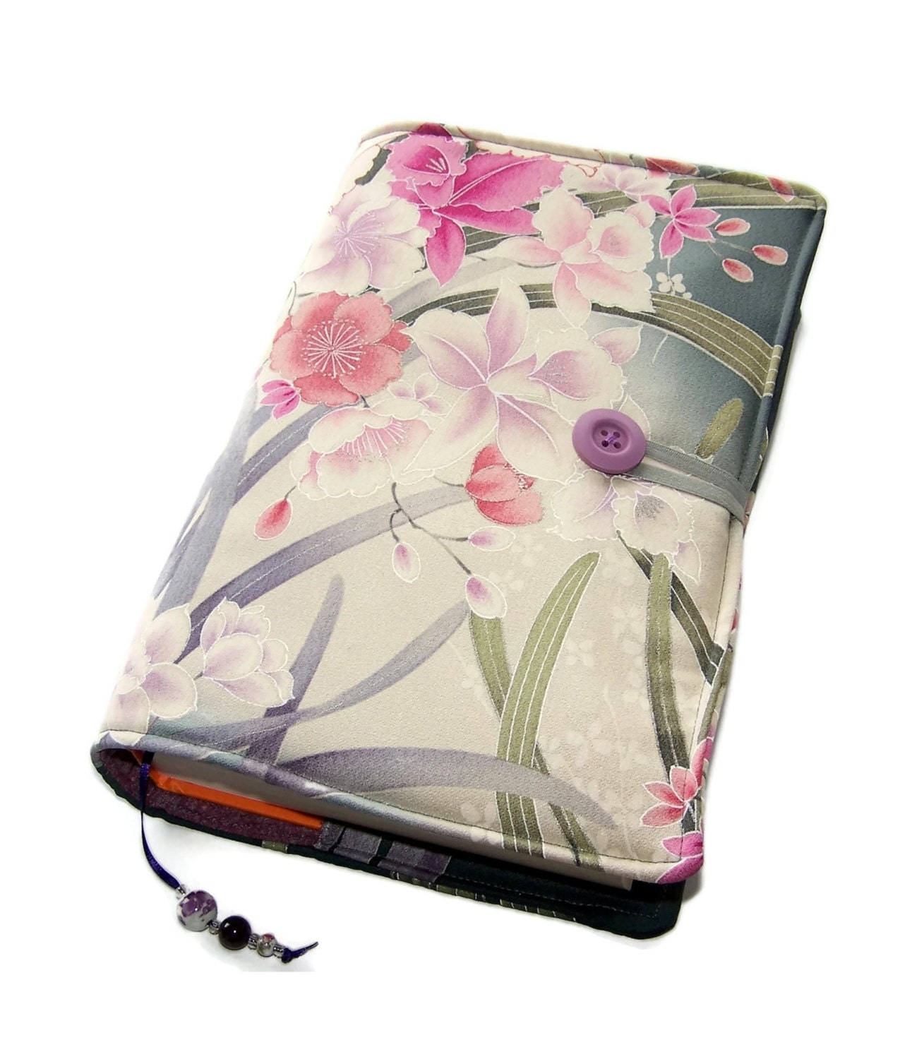 Large Cloth Book Covers ~ Large bible cover orchids in moonlight silk kimono fabric
