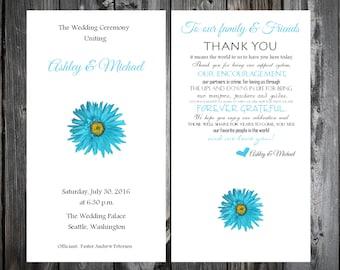 Malibu Blue Daisy Wedding Programs 100 Wedding Ceremony Personalized and Printed Programs
