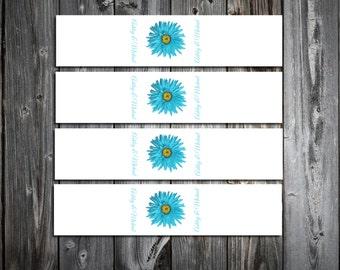 Malibu Blue Daisy 100 Wedding Napkin Ring Cuffs Wraps. Personalized and Printed wedding napkin favors