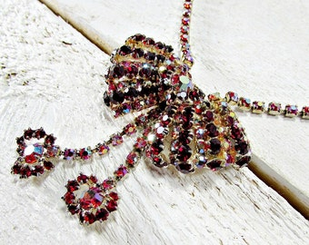 Vintage Red AB Crystal Necklace, Red Rhinestone Bow Necklace, Gold Choker Necklace, 1950s Costume Jewelry, Valentines Day Gift for Her Women