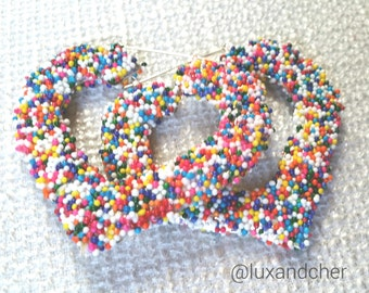 Bamboo Hoop Earrings, Summer fashion, Bamboo Earrings, Hoop Earrings, Statement Earrings, Candy Sprinkles, Barbie, Cupcakes, Summer Sale