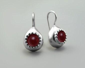 Garnet drop earrings, January birthstone earrings, Teardrop Earrings, Red Earrings Sterling Silver, burgundy earrings, Valentines Day Gift