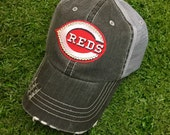 Cincinnati Reds Baseball Bling Swarovski Ladies Womens Trucker Hat